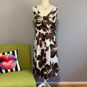 Jones New York Brown & White Floral Flare Dress C8